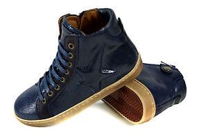 Bisgaard-Snake-Kinder-Leder-Schnuer-Schuhe-mit-Stern-Sneaker-Gr-24-36-Blau-Neu