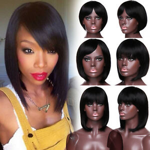 100 Human Hair Short Full Wigs Natural Curly Straight Bob Short Wig Remy Hair Ebay