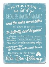 In This House We Do Disney V2 Blue - Metal Wall Plaque Art Sign - (D2)