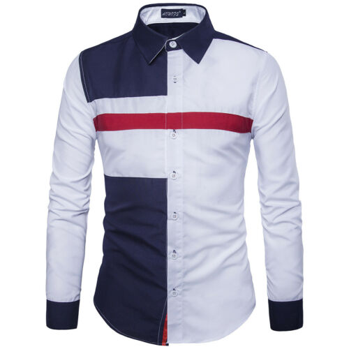 Blouse Mens Luxury Casual Shirts Slim Fit Long Sleeve Dress Shirts Tops
