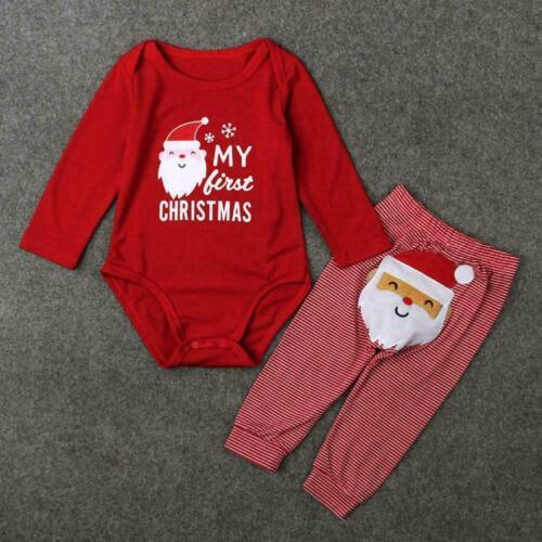 Neugeborenes Baby Mädchen Nettes WEIHNACHTEN Kleidung Santa Overall Nizza F T1J0