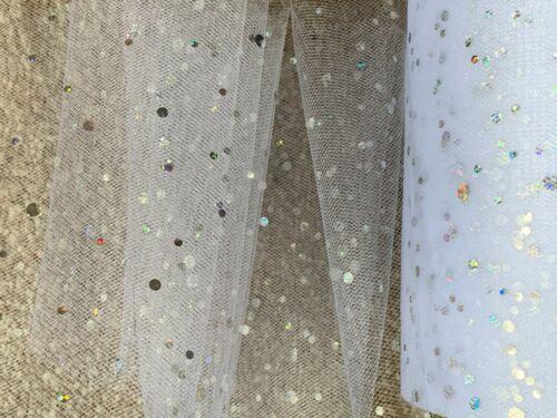 6m de 150mm de ancho de nylon suave Blanco Holográfico Spot Tul Tutú De Navidad//neto