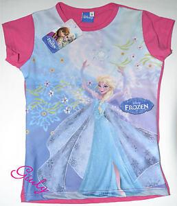 Maglietta-FROZEN-4-a-10-anni-maglia-bambina-t-shirt-bimba-cartoni-fuxia-DISNEY