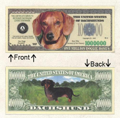 Dachshund Million Doggie Bones Bill Novelty Notes 1 5 25 50 100 500 or 1000