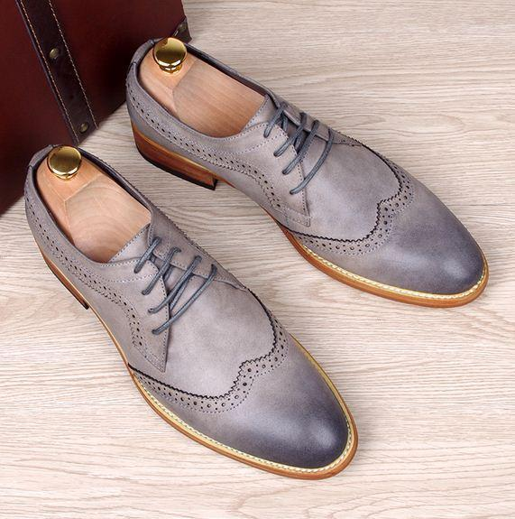 Retro oxford Men's Brogue Lace up Wingtip Leather Dress Formal shoes carving