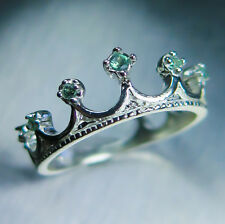 Natural Alexandrite colour change 9ct 375 white gold crown engagement ring