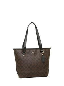 62aae0a85e0c Coach Signature Zip Top Tote Shoulder Handbag - F34603 for sale ...