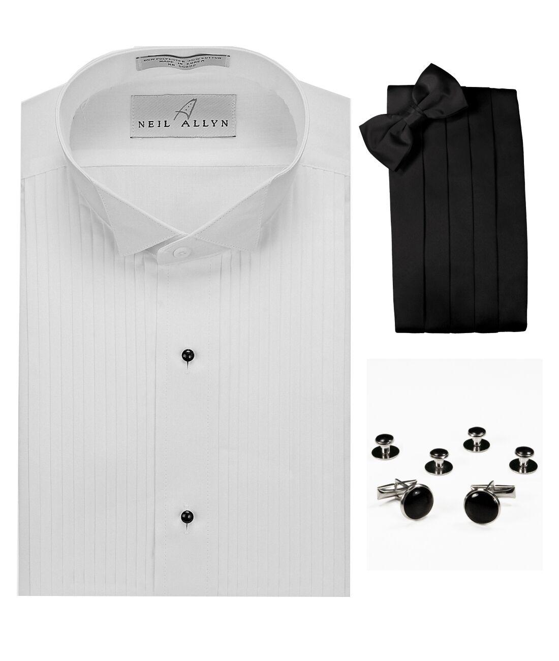 27f365a848 Wing Collar 1 Pleats Shirt, Cummerbund, Bow-Tie, Cuff Links & Studs ...