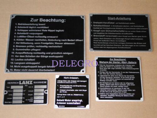 Schildersatz für Lanz Volldiesel D 1616 2016 2416 2816 Traktor Schlepper Schild