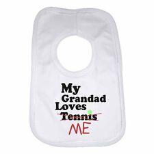 My Grandad Loves Me not Tennis - Personalised Baby Bib Funny Gift Clothing Cute