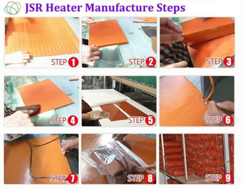 "2.8/"" X 9/"" 70 X 230mm 24V 100W w 3m JSRGO CE UL Oil Tank Pan Silicone Heating Pad"