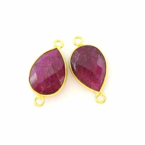 Per 2 Pcs Vermeil Links Gemstone Connector Faceted Teardrop 14mm-Ruby Dyed