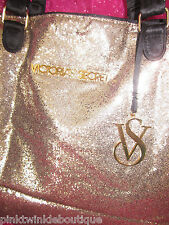 Victoria's Secret Gold Fantasy Glitter Handbag Purse Large Beach Tote Bag RARE