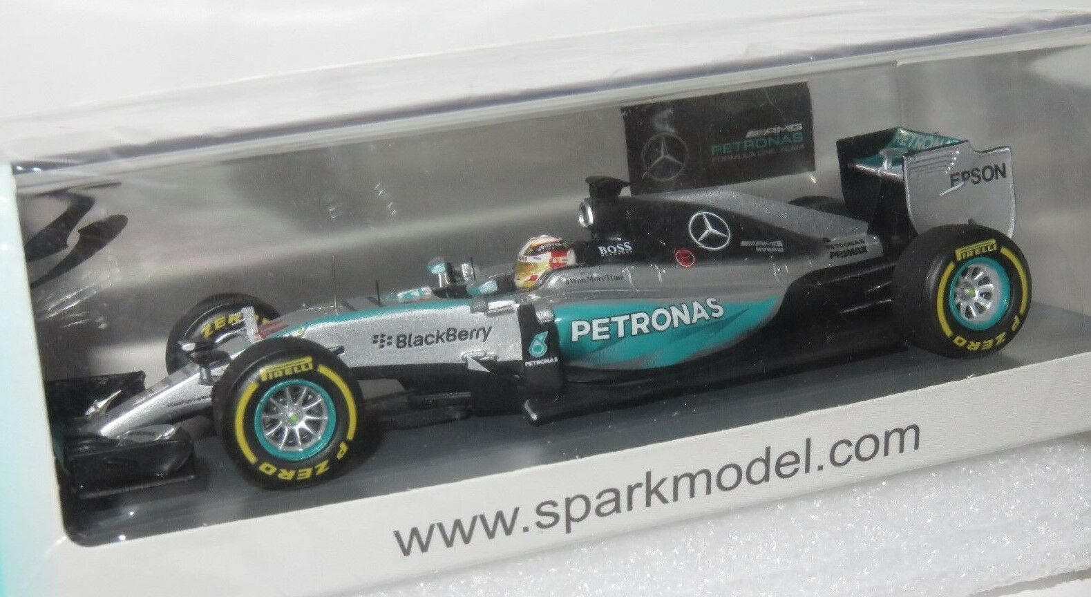 1/43 Mercedes F1 W06 Hybrid nos Ganador GP 2018 Lewis Hamilton con PIT Board