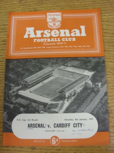 08011955 Arsenal v Cardiff City FA Cup Neat Match Details Noted On CoverIn