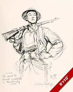 Kentucky American Us Army Soldier Wwi World War 1 Art Painting Real