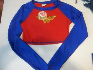481259e2e56ee DC Comics Wonder Woman Crop Rash Guard Long Sleeve Shirt Swimwear