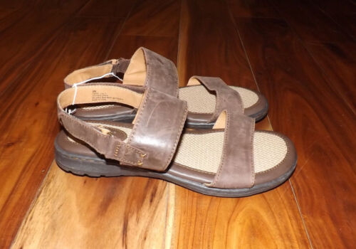 H.H Brown Shoe Co Brown Leather Sandals Shoes 6 7 8 9 11 NEW Womens b.o.c