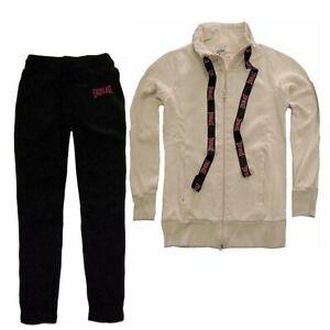 EVERLAST-tuta-da-donna-sport-completo-sportivo-felpa-rosa-chiaro-pantalone-nero