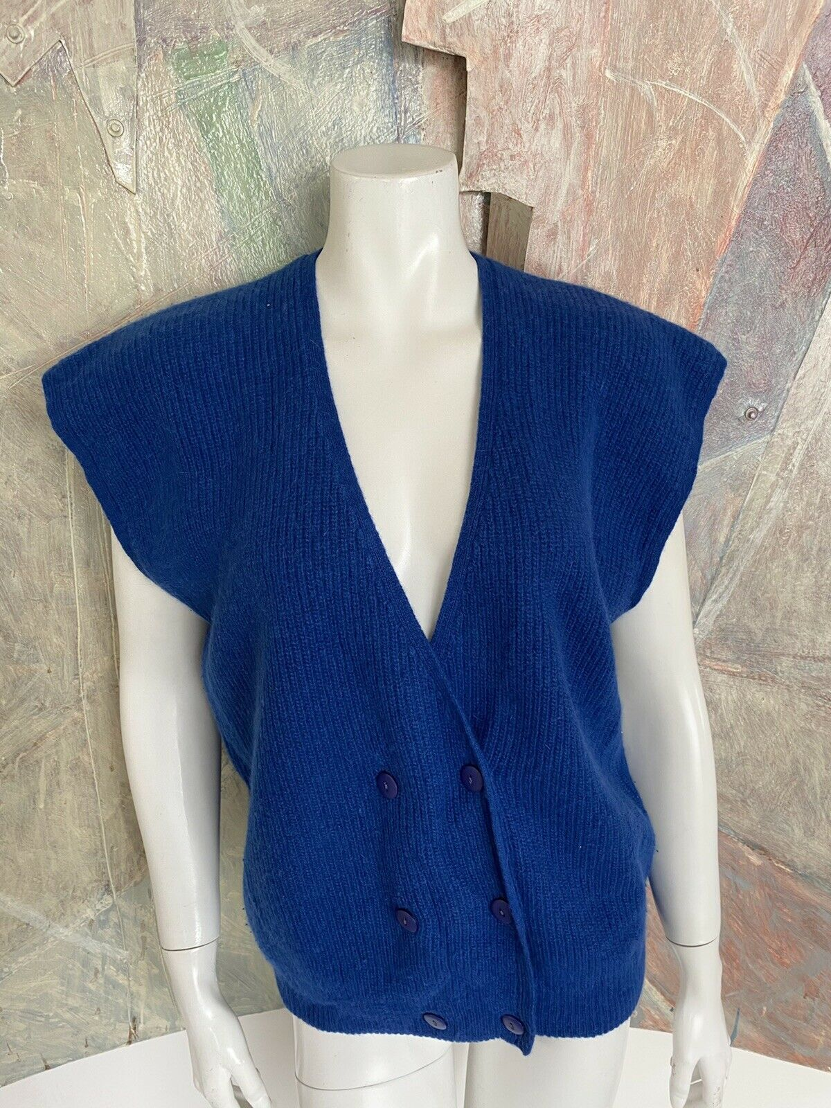 Vintage richard & Co. royal blue angora wool sweater cardigan vest size-show original title