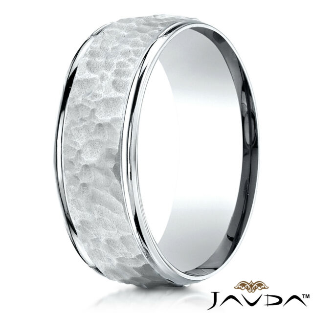 d18c2152657 Hammered Finished Men s Women s Ring 14k White-Yellow-Rose Gold 8mm Wedding  Band