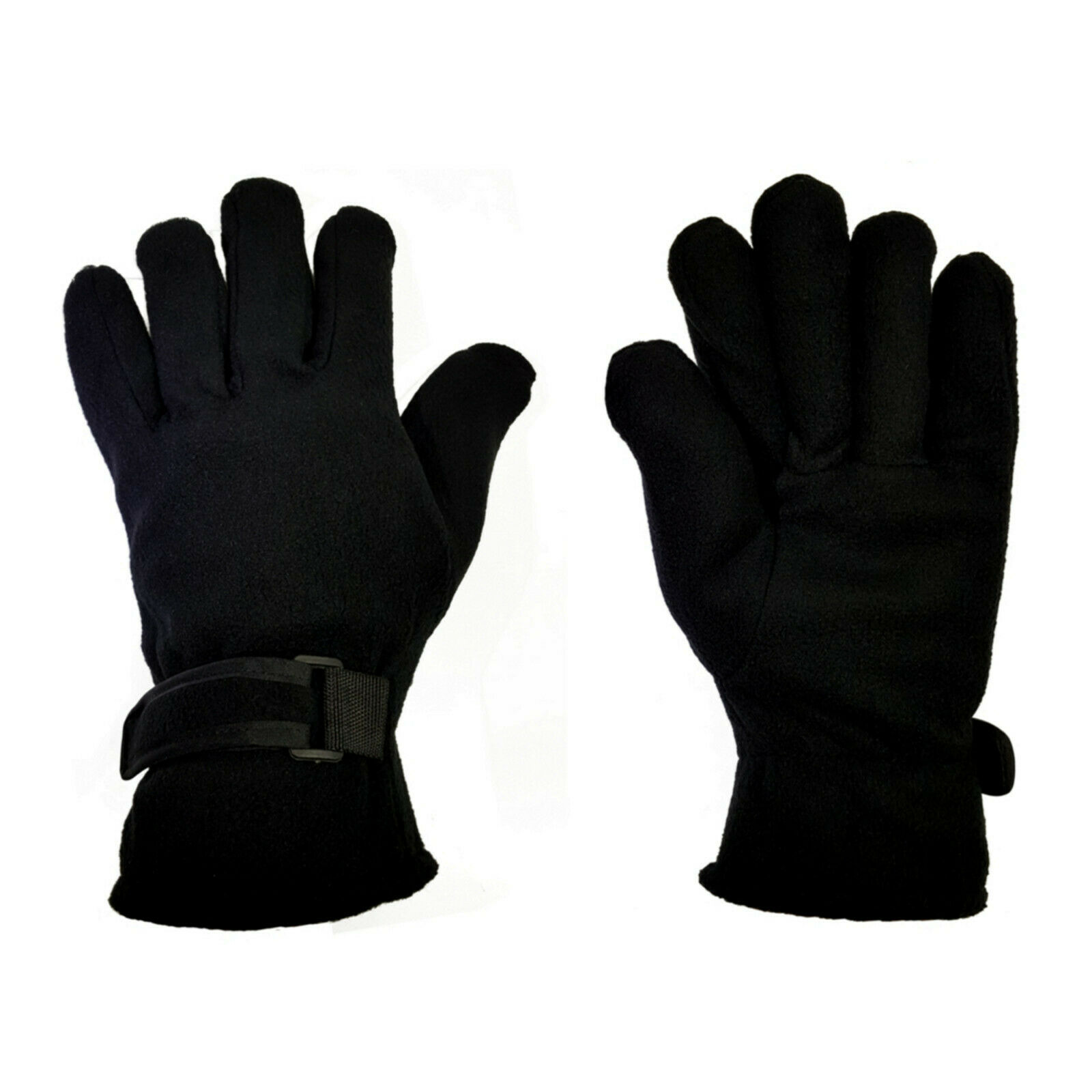 Mens Insulated Fleece Gloves Thermal Soft Extra Warm Velco Straps Winter Gloves