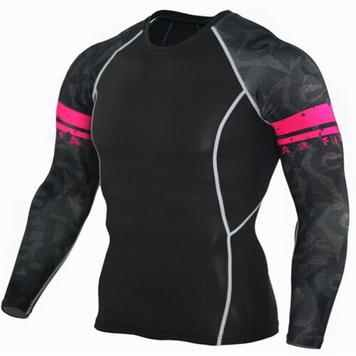 Men Compression Base Layers Shirt Crewneck Print Tights Sport Fitness Warm Tops