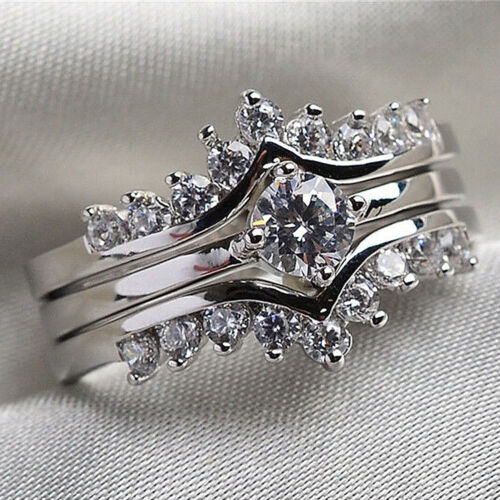 Women Silver Ring Luxury Crystal Jewelry Engagement Wedding Ring Gift Size