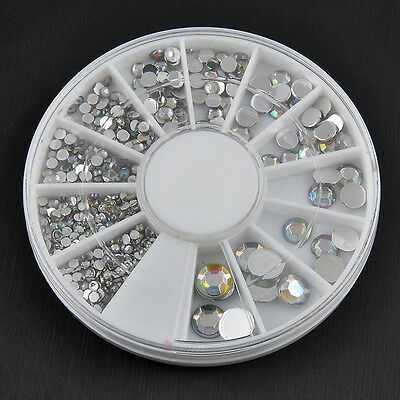 AU Acrylic UV Gel Nail Art Sticker Wheels Various Gems Crystal Tip Decoration