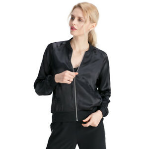 788adeb98 Details about LILYSILK Women's Silk Bomber Jacket Classic Casual  Lightweight Outerwear Coat