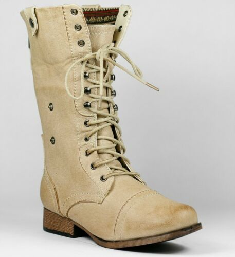 Natural Beige Faux Leather Fold Down Plaid Mid-Calf Lace-Up Military Combat Boot