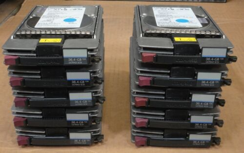 DATA WIPED /& TESTED LOT OF 10x HP 36.4GB 10K WIDE ULTRA3 SCSI HDD 177986-001
