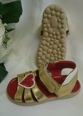 BABY Mädchen Festliche Kinder Schuhe MADE IN ITALY Gr. 21 Gold Rot LEDER Herz
