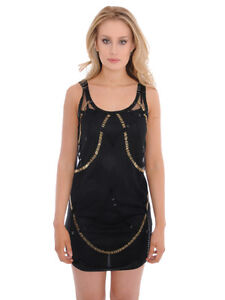 Little-Mistress-Black-Dress-Gold-Bead-Embellishment-Women-039-s-Size-6-amp-12