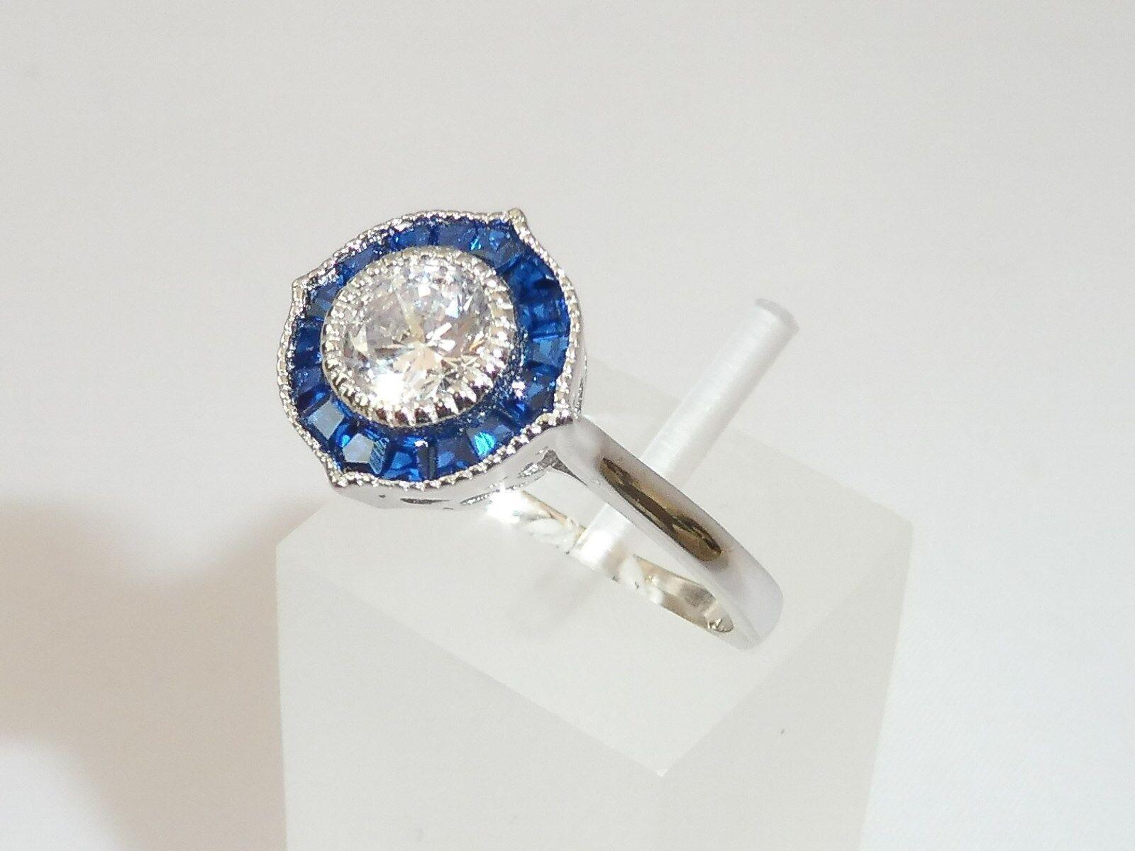 da17337705f1 Anello Art Déco Halo Design in silver sterling 925 con zaffiro blue e  bianco onokrp5064-Gemstone