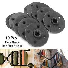 10Pcs 1/2'' Black Malleable Threaded Floor Flange Iron Pipe Fittings Wall Mount