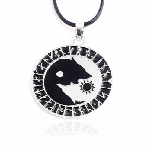 Punk estilos Yin Yang Wolf comer sol Collar Amuleto de Joyería Colgante Gargantilla LH