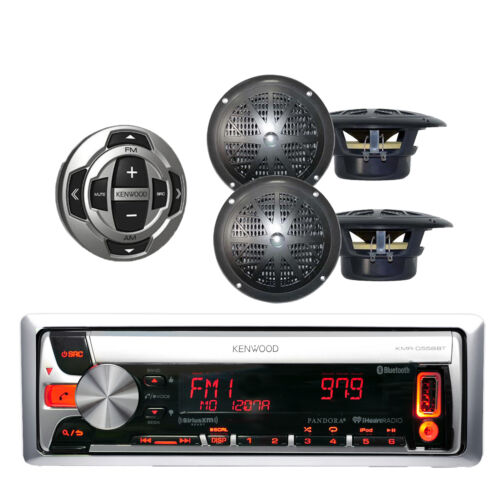 KCARC35MR Remote 4 Speakers KMRD558 Kenwood Marine CD//MP3 iPod iPhone Receiver