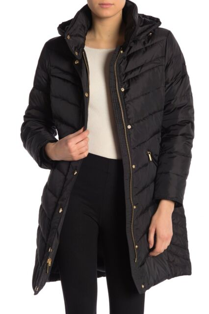 MICHAEL KORS Women's Missy 34 Quilted Down Puffer Jacket Coat in BLACK Size XL