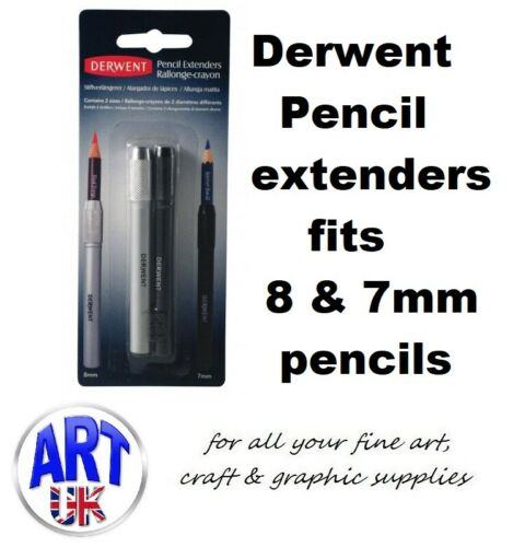 Derwent Artists Pencil Extenders Set of 2 8mm /& 7mm for Drawing /& Sketching