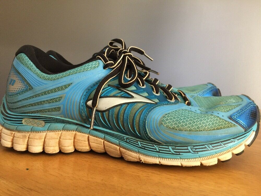BROOKS GLYCERIN 11 Metallic Bright Blau Running Train Walk Damens Schuhes Größe 9