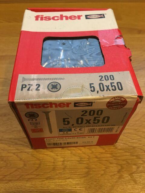 2x Fischer Power-Fast 5x50 Senkkopf A2 TG PZ 200 Stk./ 657222 NEU!!
