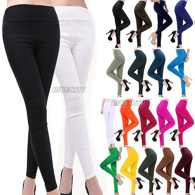 New Fashion Women's High Waist Slimmed Skinny Pencil Trousers Cotton Tight Pants