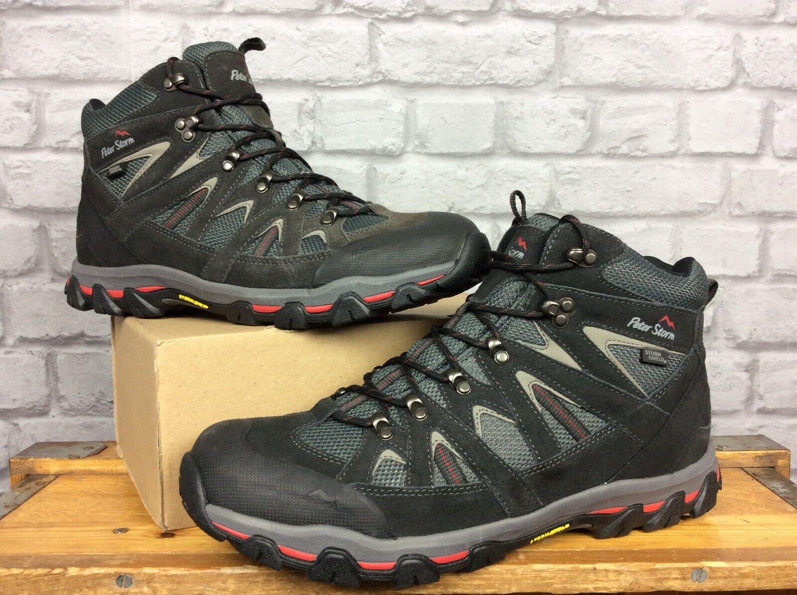 PETER STORM MENS UK 12 EU 46 ARNSIDE schwarz rot MID WALKING Stiefel