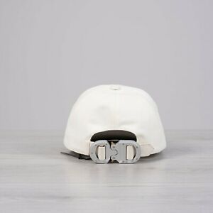 DIOR-x-ALYX-850-New-Off-White-Cotton-amp-Leather-Baseball-Cap-With-034-CD-034-Buckle