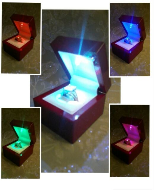 RAINBOW PRIDE MONTH LED FLASHING ENGAGEMENT GAY WEDDING RING PROPOSING BOX