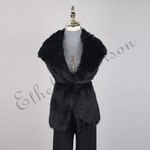 Lady Knit Down Gilet Veste Fur Top Vest Vest Rabbit Collar Overcoat Turn Fashion FadHrqnFB