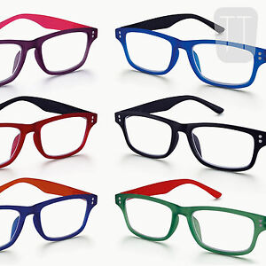 NEW-RIMMED-READING-GLASSES-READERS-MATCHING-POUCH-MANY-STRENGTHS-COLOURS