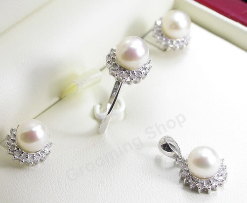 Diamonds pearls set pendant ring earrings white gold for Diamond pearl jewelry sets