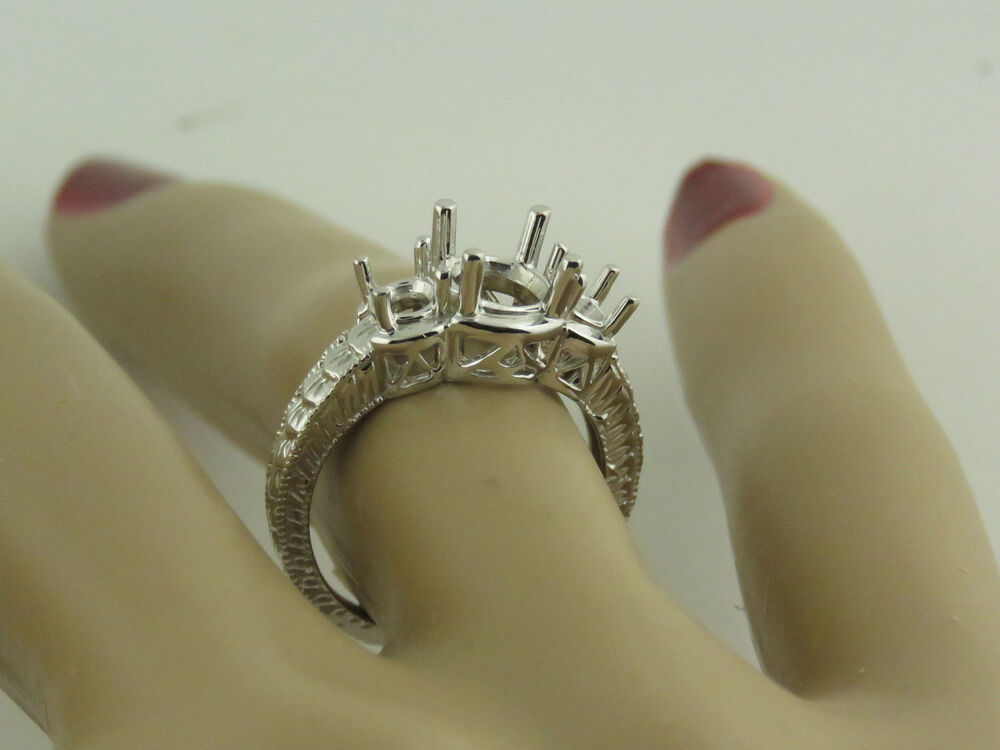 Antique Style 3 Stone Ring Mounting Engrave Style 14k